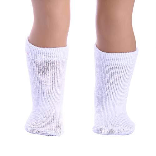YUYOUG Weiß Stricken Sport Socken für 18 Zoll gemacht Unsere Generation American Girl & Boy Puppe Zubehör Mädchen Geschenk Spielzeug