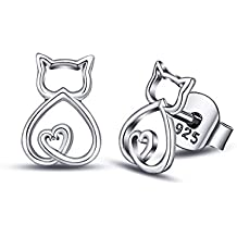 EUDORA Pendientes de Gato de plata de ley 925 con Diseño de Gato, Ideales Como