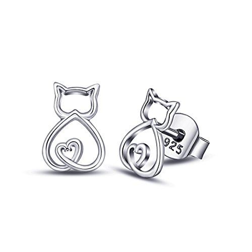 Eudora Cute Cat 925Sterling Silber Ohrstecker Geschenke für Cat Lover Frauen Mädchen Geschenk