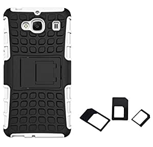 Ceres Tough Hybrid Armor Back Cover Case with Kickstand for XiaoMi RedMi 2 Prime with Multi Sim Adapter (White)