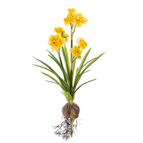 Fiori Gialli Simili Al Narciso.Artplants De Narciso Artificiale Con Bulbo E 3 Steli Fioriti