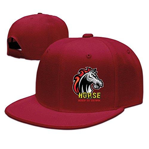 Zeit anzeigen Pferd Keep it Down Sunbonnet Sun Schutz Hat Snapback Flat Bill Cap schwarz, Herren, rot