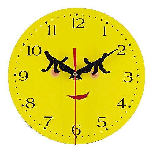 Elecenty Emoji Wanduhr, Kreative Stil antike Holz Wanduhr für Home Wohnzimmer Küche, Ohne Tick Tack Geräusch Kreative Art Silent Uhr Kunst Wohnzimmer