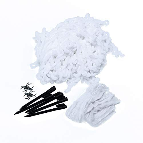 TOYANDONA Spinnennetz, Halloween-Gurtband, für Halloween, Dekorationen mit Erdnägel, 40 g, Baumwolle, Weiß