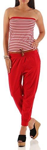 Malito Damen Einteiler gestreift | Overall mit Gürtel | Jumpsuit im Marine Look - Playsuit - Romper 9610 (rot) -