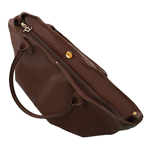 Tuscany Leather TL KeyLuck - Schultertasche aus Leder - TL141207 (Schwarz) Dunkelbraun