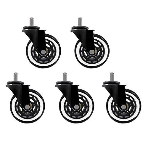FENSIN 5 Stück Bürostuhl Caster Rubber Swivel Wheels, 3 Zoll PU Polyurethan Caster Universal Rad Bürostuhl Drehstuhl Computer Stuhl Skateboard Rad -