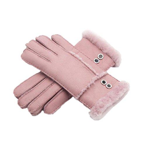 Leder Doppel-Deduktion Weibliche Modelle Handschuhe Herbst Und Winter Outdoor Reiten Warme Winddichte Leder Handschuhe,Pink-OneSize (Doppel-manschette Leder Handschuhe)