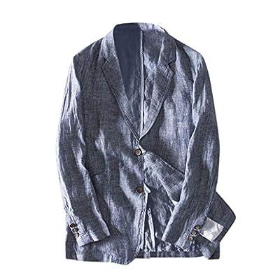 Zarupeng Chaqueta casual de lino de los hombres Moda Slim Fit bolsillo Color sš®lido Manga larga Dos botones Chaqueta ligera Chaqueta Outwear Traje