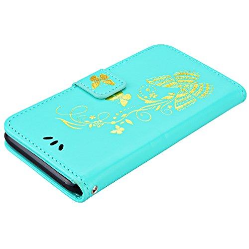 Für Apple iPhone 7, Yokata iPhone 7 Hülle PU Leder Case mit Soft Weich TPU Silikon Gel Backcover Bräunung Gold Schmetterling Muster Design Schutzhülle Cover Backcover Case im Bookstyle mit Standfunkti Grün