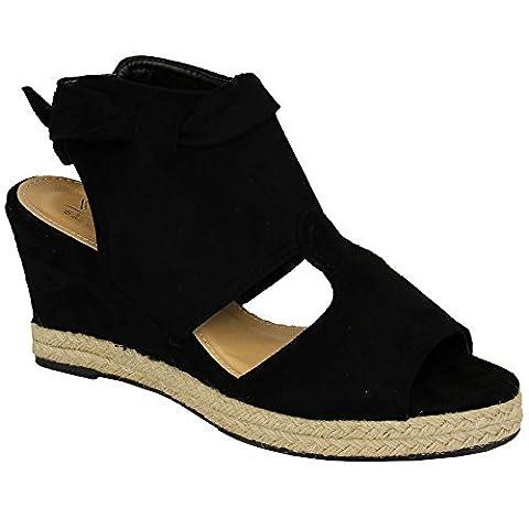 Femmes Semelle Compensée sandales cuir suédé LOOK plateformes Espadrilles bout ouvert nœud chaussures - Noir - my635, 4 UK / 37 EU