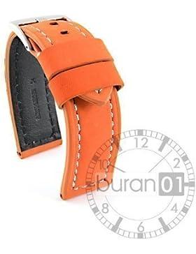 VK von Buran01.com Uhrenarmband Leder Orange Wildleder Bandanstoß 24mm