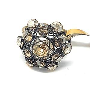 KONPLOTT Bended Lights Damen-Ring, Ringgröße verstellbar, Glas braun -5450527729772