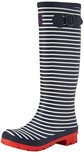 Tom Joule Damen Wellyprint Gummistiefel, Mehrfarbig (Navy Mini Stripe), 39 EU