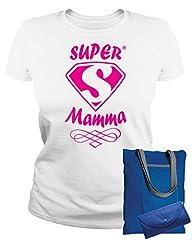 Idea Regalo - MAM0011 T-Shirt Maglietta Donna Super Mamma 3 Idea Regalo Festa della Mamma (S, Bianco)