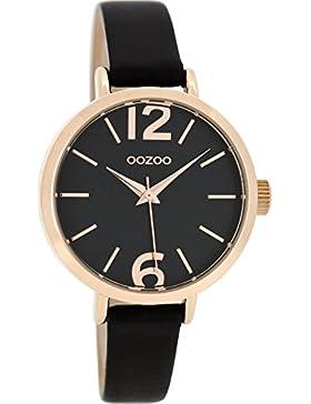 Oozoo Damenuhr mit Lederband 35 MM Rose/Schwarz/Schwarz C8409