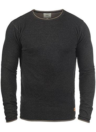 Redefined Rebel Maison Herren Strickpullover Feinstrick Pullover Mit Rundhals Und Melierung Aus 100% Baumwolle, Größe:S, Farbe:Black -
