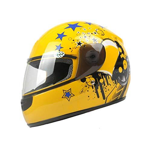 YWLG Full Face Fahrradhelm Kinder Skifahren Snowboard Helm Integral Geformten Ultraleicht Ski Helme Geschenke Für Jungen Mädchen,Yellow-OneSize48-54CM