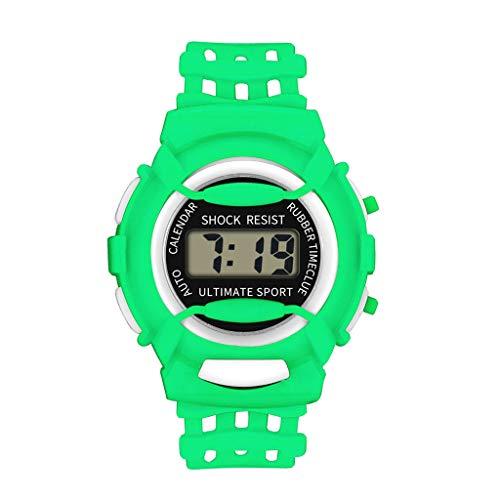 LABIUO Childrens Uhr Jungen Mädchen, Mode Klassische Analog Digitale Elektronische Intelligente Uhr Gummi Wasserdichte Sport Lässige Armbanduhren(Grün,Einheitsgröße)