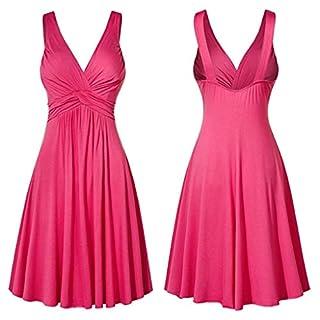 Gofodn Dresses for Women Plus Size Sexy V Neck Sleeveless Solid Retro Sling Pleated Slim Flare Skirt Dress Pink