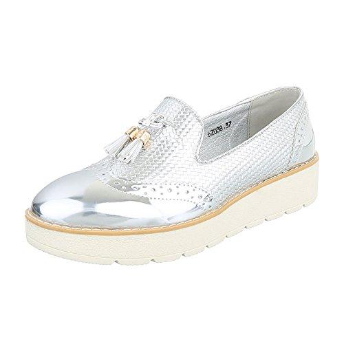 Ital-Design Slipper Damen-Schuhe Low-Top Slipper Halbschuhe Silber, Gr 38, 62038-