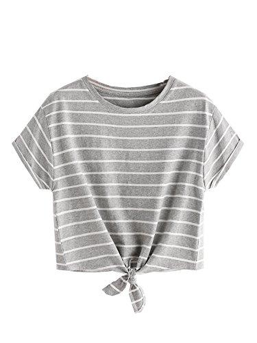 ROMWE Damen Gestreift Crop Top Kurzarm Streifen Shirt Grau XL