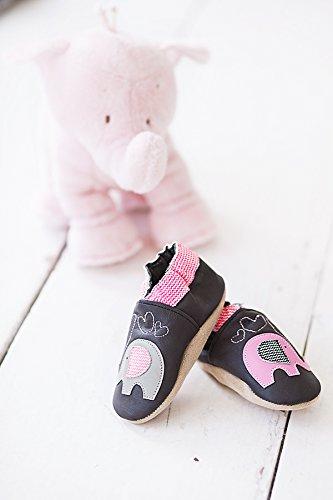 Rose & Chocolat RCC Elephant Kiss Baby Mädchen Krabbelschuhe & Puschen Hausschuhe Braun (Elephant Kiss Brown)