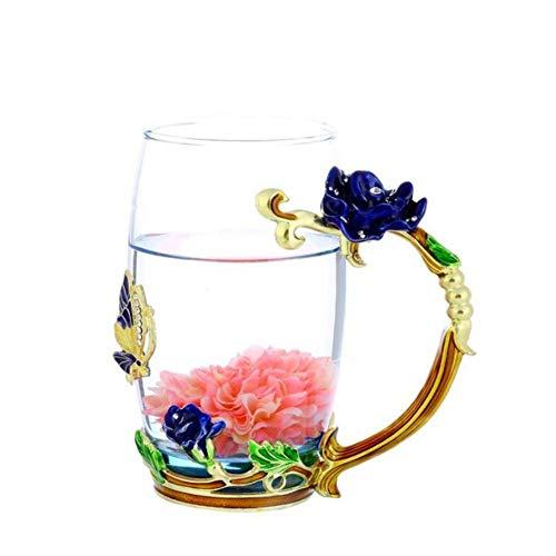 (Glas Becher Teetasse, mit Handgriff Löffel Untersetzer, aus Transparente Hitzebeständiges Glas, Glas Teekanne mit Emaille Rose Muster 350ml / 12oz)