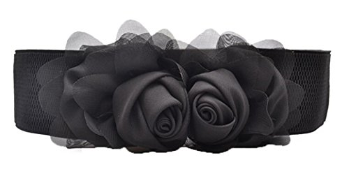 Meta-U - Cinturón ancho elástico con flores para mujer negro negro Talla única