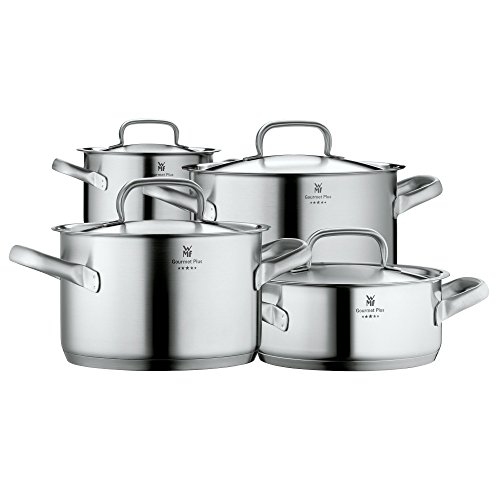 WMF Pot Set 4-Piece Gourmet Plus Inside Scale Steam Vent Made in Germany Hollow Handles Metal Lid Cromargan Stainless Steel Suitable for Induction Hobs Dishwasher-Safe