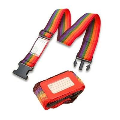 2pc Adjustable Luggage Suitcase Belts Travel Security Straps Set - Red - cheap UK light shop.