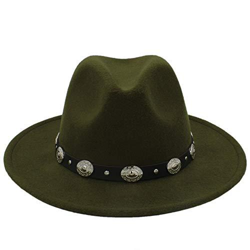 Shishanyun Unisex Wolle Jazz Hüte Herren Fedora Hut Heißer Billig Frauen Filzhut Cowboy Panama Hüte Für Frauen Derby Fedoras (Farbe : Green, Größe : 56-58CM)