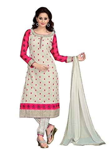 Designer Beautiful Cream and pink embroidered georgette Long Anarkali Suit for women & girls party wear Semi stitched For Girls For Specail Uses In wedding, engagement , Party Wear, Free Size  available at amazon for Rs.999