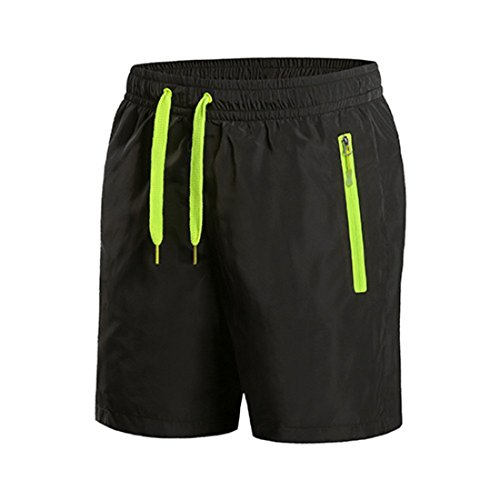 Men 5 Minutes Fitness Sweat Breathable Shorts Black LawnGreen