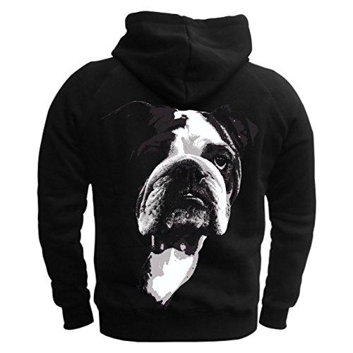 Männer und Herren Kapuzenpullover Englische Bulldogge BOSS mit Rückendruck Schwarz