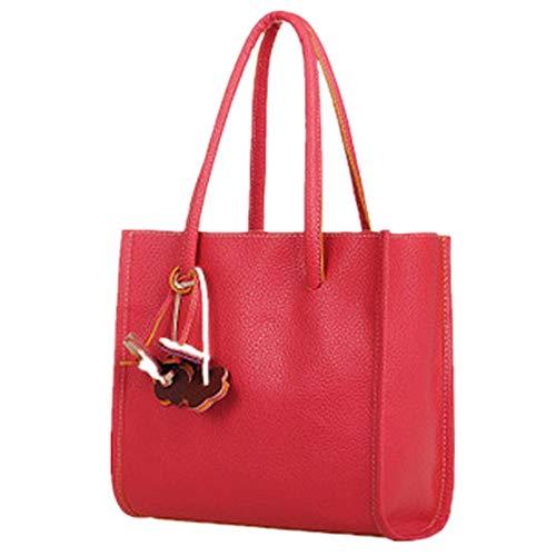 FOANA Damen Handtaschen Schultertasche Geldbörse Kartenhalter Tasche (A rot, 1)