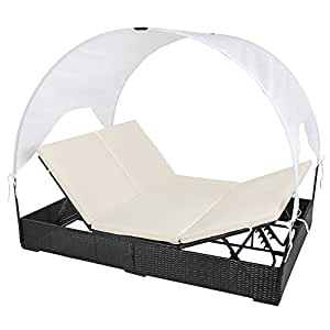 tectake sonnenliege poly rattan gartenliege loungeliege gartenlounge doppelliege. Black Bedroom Furniture Sets. Home Design Ideas