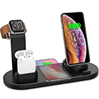‏‪4 in 1 Wireless Charger Stand,QI Fast Wireless Charging Station for Apple Watch iWatch,Airpod,iPhone,Samsung Galaxy‬‏