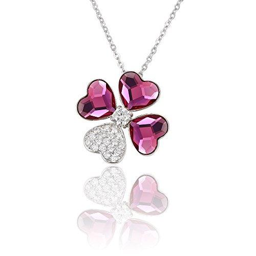 xuping Bijoux Pendentif en cristal coeur Lucky–Collier Femme–Trèfle herbe pour femmes filles Rose Red+White