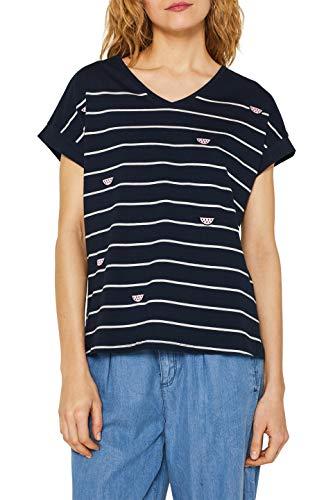 edc by ESPRIT Damen 059Cc1K019 T-Shirt, Blau (Navy 400), Medium