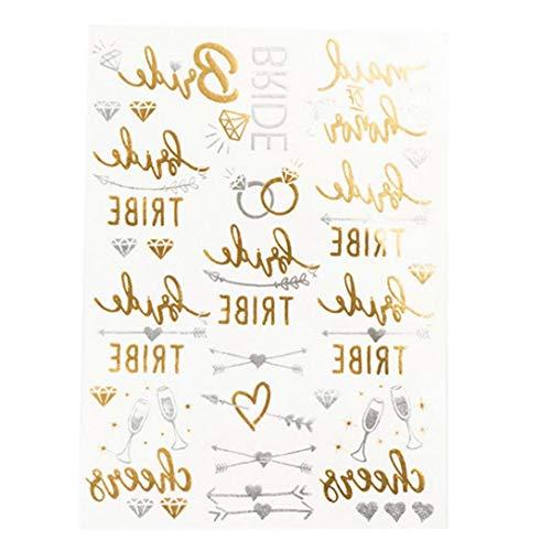 AMOYER Temporäre Wasserdicht Hot Stamp Tattoo Bride Gold Glitter Aufkleber Wedding Night Bachelor Party Tattoo-Aufkleber