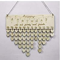 Wood Birthday Reminder Board Ply Plaque Sign Family DIY Calendar Decor