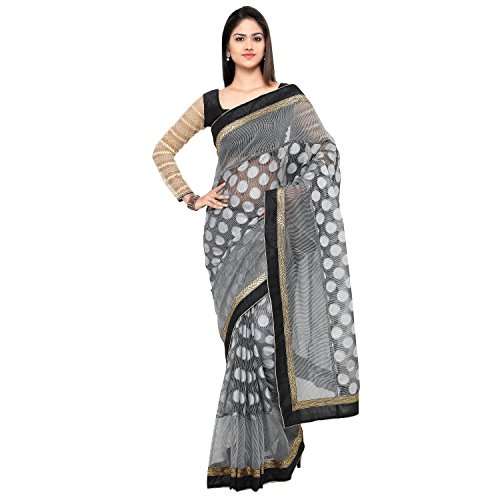 EthnicJunction Women\'s Kota Cotton And Net Saree With Blouse (EJ1164-2021_Black)