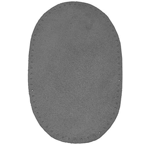 alles-meine.de GmbH 1 STK. Wildleder - echtes Leder - Flicken - dunkel grau - 10 cm * 15,5 cm - oval - Aufnäher zum Aufnähen / Applikation XL Format