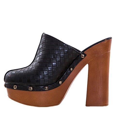 Toocool - Scarpe donna zoccoli clogs sabot ecopelle tacco comodo borchie nuovo K2L8128-1 Nero
