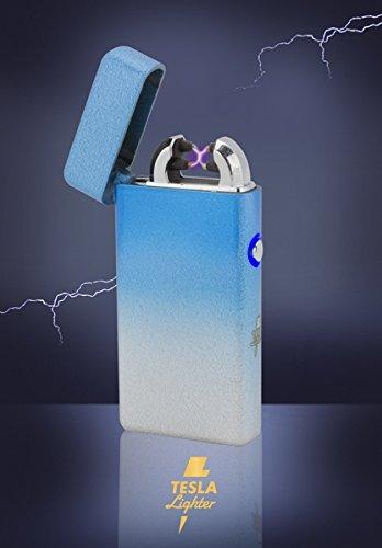 Tesla-Lighter T08 | Lichtbogen Feuerzeug, Plasma Double-Arc, elektronisch wiederaufladbar, aufladbar mit Strom per USB, ohne Gas und Benzin, mit Ladekabel, in edler Geschenkverpackung, Mixed Skyblue