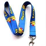 Pokemon Go Pikachu Cordon porte-clés porte-clés plastique Largeur 1cm Longueur 35cm bleu