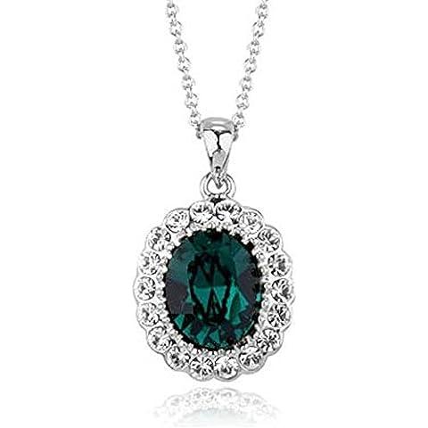 Swarovski Elements smeraldo ovale 18K Placcato Oro pendente della collana di modo