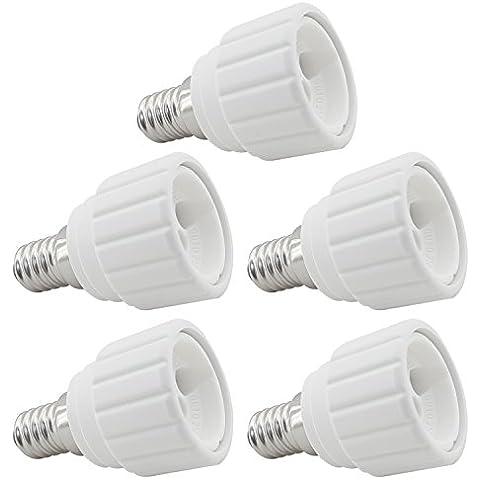 5 Kit de Ahorro EVolution Base de lámpara Adaptador Casquillo de lámpara Conversor E14 a GU10