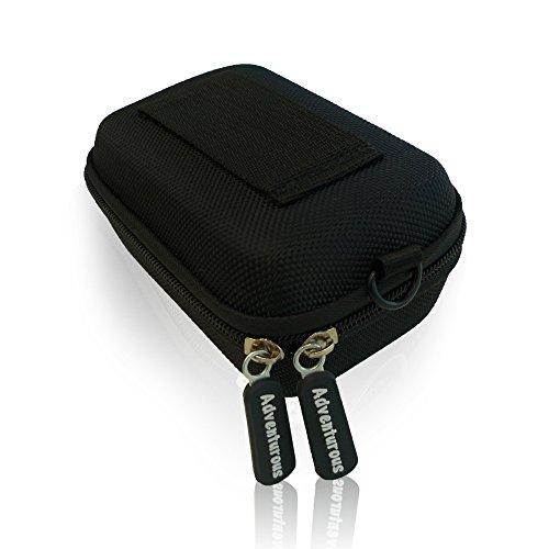 Hardcase Kompaktkamera Tasche in Schwarz, Kameratasche mit XXL Schultergurt und Gürtelschlaufe für Sony DSC HX 60, 80, 90, DSC RX100, Panasonic, Canon Powershot, Nikon Coolpix uvm Digital Kameras